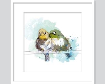 Watercolor two birds-fine art Giclée print-