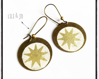 Sweet collection: unbleached paper and gold star earrings