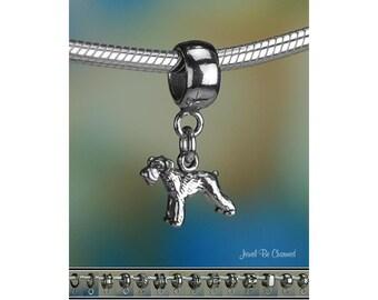 Tiny Schnauzer Charm or European Style Charm Bracelet Sterling Silver