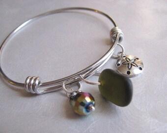 Sea Glass Bangle Bracelet - Stainless Steel Bracelet - Expandable Bracelet - Wire Bracelet -Pure Sea Glass - Mermaid Tears from PEI, Canada