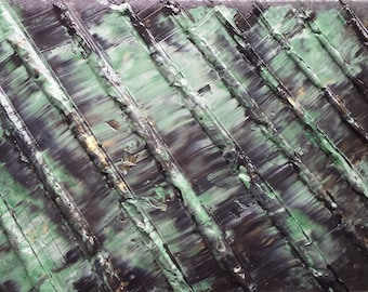 Green, Gold, Black, Water, Bridge, Acrylic, Abstract Painting, Original Art, BRIDGE over TROUBLED WATERS by Suzann Kingston / Free Shipping
