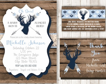 Rustic Baby Shower Invitation - Deer Baby Shower Invitation - Buck Shower Invitation - Baby Boy Shower Invitation Woodland Invitation BBDE02