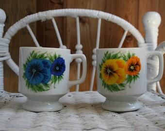 Pair of Floral Ceramic Stacking Mugs, Vintage floral Mugs