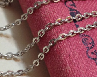 2 mm Platinum Plated Flat Cable Link Chain Necklace (.gg)