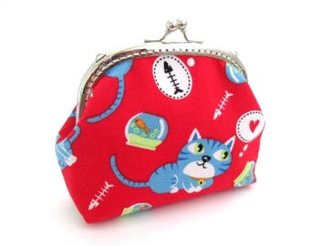 Frame purse, cat on red frame bag - silver kiss lock clasp, frame clutch bag - fish in a bowl frame coin purse, snap coin pouch