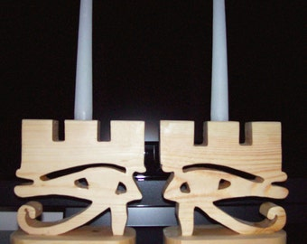 Egyptian Candle Holders.   All Seeing Eye