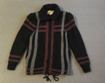 1980's, sweater jacket, in black, with dusty mauve and gray stripes, Women's size Medium