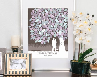 Wedding Signature Tree, Wedding Tree Guestbook, Wedding Keepsake, 100+ Guest Signatures // Choose Art Print or Canvas // W-T05-1PS HH3