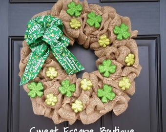Ready to ship! St.Patrick's Day wreath, Burlap wreath, Shamrock wreath, St. Patty's Day wreath, Green, Lucky, Irish Front Door Wreath