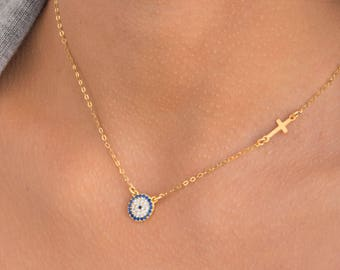 Gold Evil Eye Necklace, Cross Jewelry, Gold Fill or Sterling Silver, Eye and Cross Charms, Best Friend Necklace, Christmas Gift Necklace.