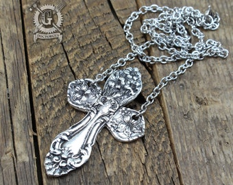 Spoon Cross Necklace - Inspired by Antique Silverware - Handmade Jewelry By Doctorgus - Solid Pewter Replica Ornate Victorian Cross Necklace