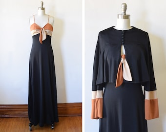 70s black maxi dress, vintage 1970s disco dress, crop jacket, empire waist, seventies studio 54 party dress, extra small xs / small