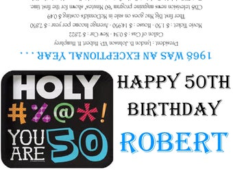 1968/50th - HOLY #%@*! YOU ARE 50  Birthday Party Favors/Candy Wrappers