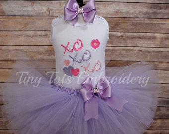 Valentine's Tutu Outfit ~ XOXO Tutu Outfit ~ Includes Top, Tutu & Hair Bow ~ Customize in any colors!