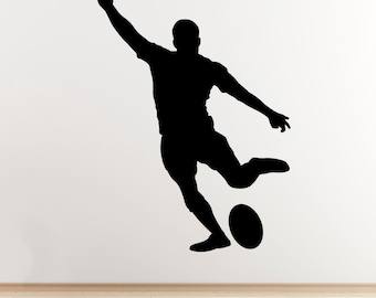 Rugby Player Wall Art Sticker - Kicking Player Outline/Silhouette  - Sports Wall Art Vinyl Decal