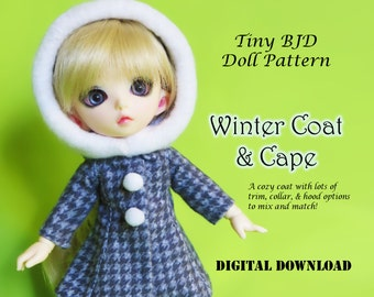 Winter coat and Cape Doll clothes outfit pattern for Tiny BJD: PukiFee Lati Yellow & similar sized dolls