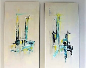 Twin set of mid-century modern art abstract original paintings starburst blue yellow