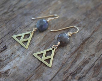 Round Labradorite Stone and Brass Triangle Earrings