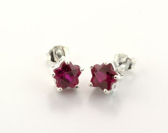 Sterling Silver Lab Ruby Flower Earrings July Birthstone