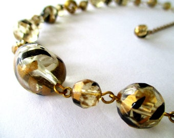 Vintage Bead Necklace * Black Gold Clear Beads * Dainty Bead Necklace