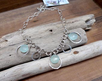 Sterling Silver and Aqua Chalcedony Necklace
