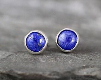 Lapis Lazuli Earrings - Bezel Set Stud Pierced Earring - Sterling Silver Earrings - Made in Canada - Cobalt Blue Gemstone Earrings