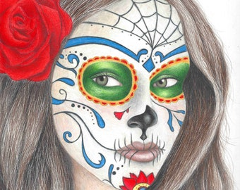 sugar skull art print 11X14 inch