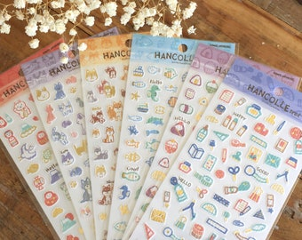Cute Washi Sheet of Stickers / Seals - Traditional Japanese Designs at your choice (Japan Collection Series) for Art Journaling, Snail Mail
