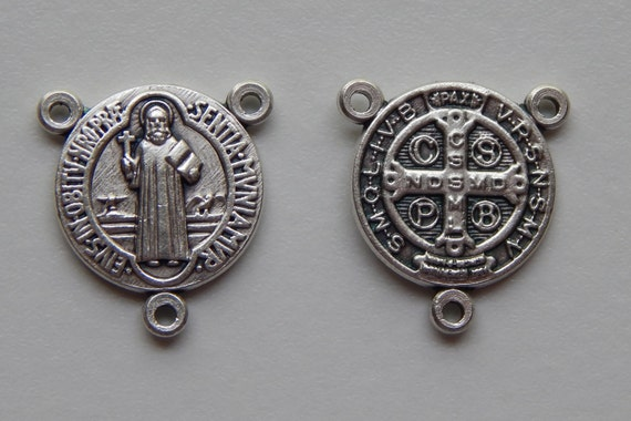 5 Rosary Center Piece Findings, Medium St. Benedict, Silver Color Oxidized Metal, Rosary Center, Religious, Hardware, Made in Italy