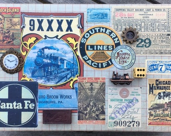 Trains Victorian Travel Souvenir Fantasy Embellished Vintage Jewelry Box