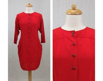 CONTEMPO 80s vintage dress. Red dress. Bronze buttons dress. Short dress. Japanese sleeve dress. Day dress. Shirtwaist dress. Size S.