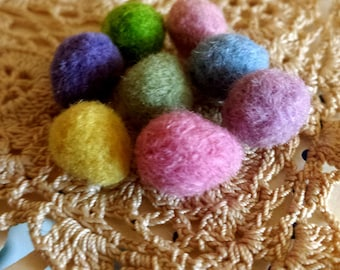 Felt Eggs - 8 TINY Needle Felted Small Custom Eggs - You Choose the Colors - Wool Felted Easter Eggs - Spring Home Decor or Dollhouse Toys