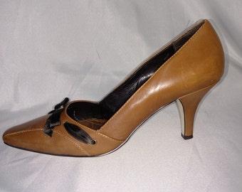 Size 8.5 Franco Sarto Pumps/Size 8.5 Leather Pump/Brown Leather Pumps/Square Toe Pumps/Dressy Brown High Heel Shoes/Nr.219