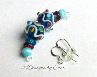 Bumpy Lampwork Glass Beads - Pair of 14mm Blue Multi Color - Coordinating Beads & Silver Earwires DIY Earrings - Destash Beads