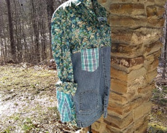 Upcycled Floral shirt with blue jean and plaid Size 1X refashioned recycled altered artsy festival ooak wearable art plus size ooak tunic