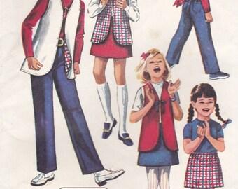 1970's Sewing Pattern - Simplicity 8897 Girls Skirt, Pants, Vest Size 12 Uncut, Factory Folded