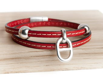 Small double seamed round link bracelet leather dark red