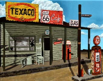 Original Acrylic Painting 'Route 66' by Texas Artist Jess Munro, 16x20, Signed and Framed