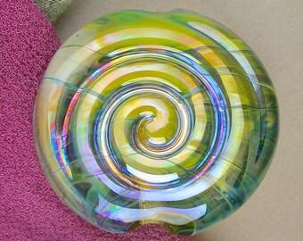 """Handmade Lampwork Focal Bead """"Spirlentil"""" SRA Glass Bead Lentil ~ OOAK Textural Organic Silver Glass Lustre ~ Warm Neutrals"""