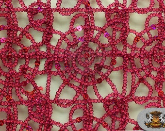 """Sun Lace Sequin Fabric FUCHSIA / 54"""" Wide / Sold by the yard"""