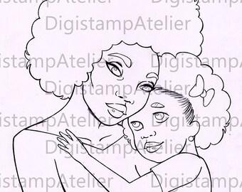 Mother and Daughter. INSTANT DOWNLOAD Digital Digi Stamps.