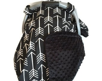 Carseat Canopy Black Arrow. Gender Neutral Baby. Carseat Canopy. Carseat Cover. Baby Shower Gift. Minky Baby. BizyBelle