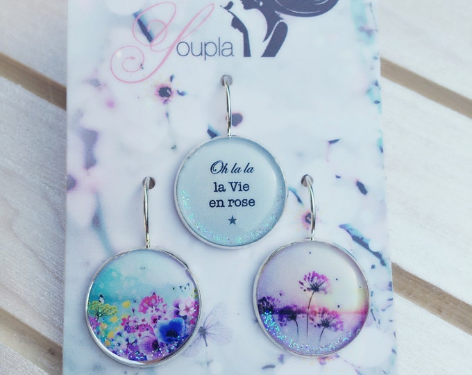 Trio of resin (18mm in diameter) - Chacha by Iris - 26 - the feather ear collection trio earrings / Valentine's day