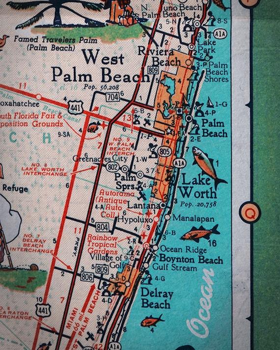 West Palm Beach Lake Worth Rivera Beach Retro Beach Map Print