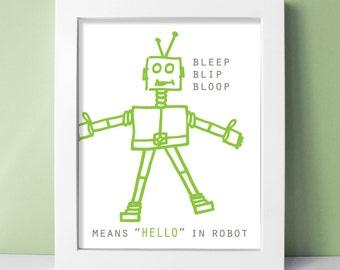Robot Nursery Print - Baby Boy Robot Decor - Robot Art 8x10 Kids Room Robot Wall Art - Pewter / Leaf Green Shown