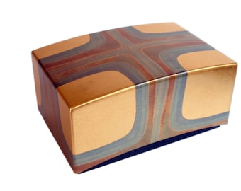 Japanese Modern Lacquered Box. Sophisticated, Elegant. Hand Painted Geometric Pattern with Gold Leaf. Modern Japanese Decor. Box.