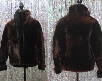 1940's  Mouton Dark Brown Fur Lamb Sheep Winter Coat (S-M)