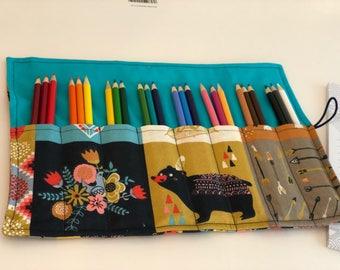 Native American Girl 24 Colored Pencil Roll Up case, bible coloring, bible journaling, pen storage, pencil case, teacher's appreciation