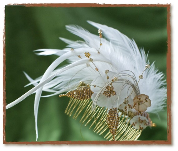 MOONSTONE CRYSTAL FLOWER Amber Beaded Feather Fascinator Comb