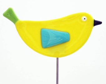 Glassworks Northwest - Yellow Bird Plant Stake - Fused Glass Garden Art